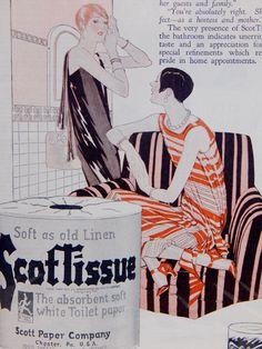 Vintage Ad 1926 Art Deco Flapper Fashion Advertising Ephemera ScotTissue Toilet Paper b/w Cutex Nail Polish Cosmetics Beauty Ads to Frame by OffbeatAvenue on Etsy