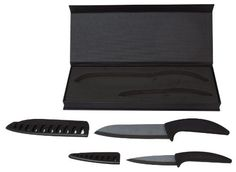Kyoto Knives. Ceramic Knife Set - 4-piece ceramic cutlery (6 Chef Knife, 3.5 Paring and sheath)  Price : $34.95 http://www.metrofulfillmenthouse.com/Kyoto-Knives-Ceramic-Knife-Set/dp/B00D14PR5K