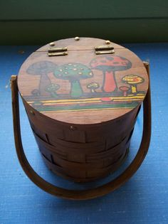 Vintage Wooden Barrel Style Purse with Handpainted Mushrooms on Lid 60's or 70's It's really cool man. $7.50, via Etsy.