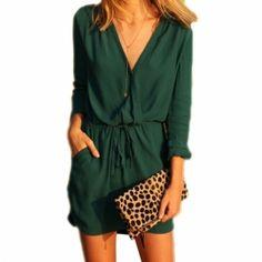 Sexy Women V Neck Long Sleeve Drawstring Pockets Loose Mini Chiffon Dress