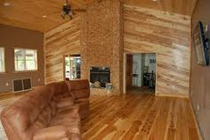 Natural Hickory Floor & Wall Hickory Wood Floors, Hardwood Floors, Flooring Options, How To Do Nails, House Design, Cabin, Furniture, Ceilings, Pallet