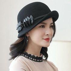 Flower wool bowler hat for women autumn winter bowler hats 2a7696e567d1