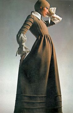 Stitched wool mix dress with embellished hem trim  by John Bates at Jean Varon, Photograph by Barry Lategan, Vogue August 1971, Copyright The Conde Nast Publications Ltd