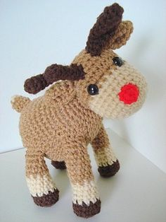 """Amigurumi """"Rudi, the reindeer"""" PDF-crochet pattern Crochet Amigurumi, Crochet Slippers, Amigurumi Patterns, Crochet Toys, Knit Crochet, Crochet Patterns, Crochet Deer, Crochet Animals, Handmade Christmas"""
