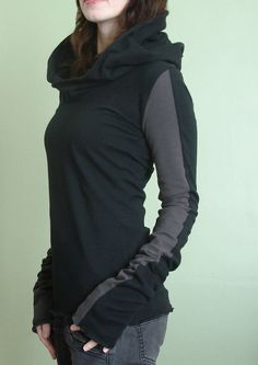 extra long sleeved hooded top Black and Cement Grey by joclothing,