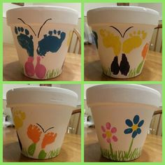 Flower pot painted white. Mom and Dad used their thumb prints to make the flowers.   And the kiddos used their feet to make the butterflies.  Very fun family craft. Great as a gift as well.