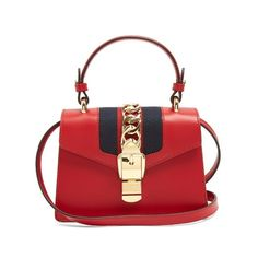 Gucci Sylvie mini leather shoulder bag ($2,250) ❤ liked on Polyvore featuring bags, handbags, shoulder bags, red, mini purse, gucci purse, red shoulder bag, gucci handbags and red leather handbags