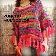 Luty Artes Crochet: xales e ponchos Poncho Crochet, Crochet Bolero, Poncho Shawl, Crochet Jacket, Knit Or Crochet, Crochet Scarves, Crochet Clothes, Beautiful Crochet, Pulls