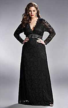 Black long plus size dress with sleeves for women. http://www.delightfullycurvy.com/look-amazing-long-plus-size-dresses/