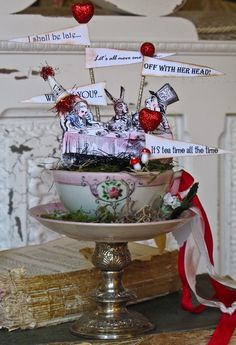 Alice in Wonderland Tea Party in a Cup by OvertheTopStudios, $69.00