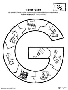 Letter G Puzzle Printable Worksheet.The Letter G Puzzle is perfect for helping students practice recognizing the shape of the letter G, and it's beginning sound, along with developing fine-motor skills. Letter G Activities, Letter G Worksheets, Alphabet Activities Kindergarten, Preschool Puzzles, Preschool Decor, 1st Grade Worksheets, Preschool Worksheets, Learning English For Kids, Abc For Kids