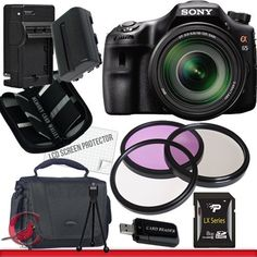 Sony Alpha SLT-A65 DSLR Digital Camera with 18-135mm Lens Package 1 by Sony. $1398.00. Package Contents:  1- Sony Alpha SLT-A65 DSLR Digital Camera with 18-135mm Lens with all   supplied accessories 1- 8GB SDHC Class 10 Memory Card 1- Rapid External Ac/Dc Charger Kit   1- USB Memory Card Reader  1- Rechargeable Lithium Ion Replacement Battery  1- Weather Resistant Carrying Case w/Strap  1- Pack of LCD Screen Protectors  1- Camera & Lens Cleaning Kit System  1- Mini Flexib...