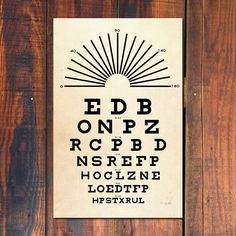 This beautiful vintage-style eye chart captures the feel of authentic optometrists tests used in doctors offices at the turn of the century. - Black and Tan color scheme OR choose your own colors from our color palette - just convo us the combination youd like! - Vintage style eye