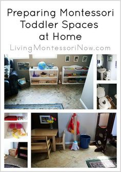 Ideas for preparing Montessori toddler spaces at home; post includes photos from my home along with roundups of Montessori spaces at home; post includes Montessori Monday permanent collection.