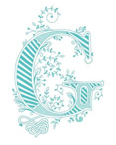Hand drawn monogrammed print 8x10 the Letter G in by jenskelley, $15.00