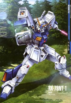 "The RX-78NT-1 Gundam ""Alex"" is a prototype newtype-use mobile suit and is a next generation Gundam built specifically for Newtypes. The unit is piloted by test pilot Christina Mackenzie, it is featured in the OVA series Mobile Suit Gundam 0080: War in the Pocket."