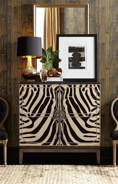 Black, white, gold, Art Deco-ish wall patern, animal print - contemporary update of the style Painted Furniture, Furniture Design, Modern Furniture, Bespoke Furniture, Ikea Furniture, Handmade Furniture, Furniture Stores, Deco Design, Design Trends