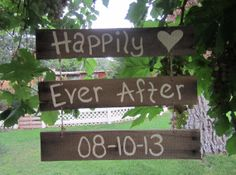 Happily Ever After Wedding Date Hanging Barnwood Sign by MsDsSigns, $25.00
