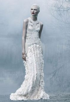 Alexander McQueen s/s 'cold summer' by solve sundsbo for love magazine s/s ghosts wear ball gowns Fashion Art, Editorial Fashion, High Fashion, Fashion Design, Couture Fashion, Crazy Fashion, Paper Fashion, Dark Fashion, Fashion Details