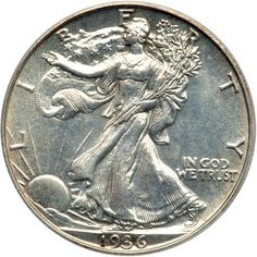 1936 Liberty Walking Half Dollar. PCGS PF63 3,901 pieces struck. A hint of light toning, devices choice, fully struck and finely detailed under a magnifying glass . Estimated Value $1,900 - 2,000. #Coins #US #HalfDollars #MADonC