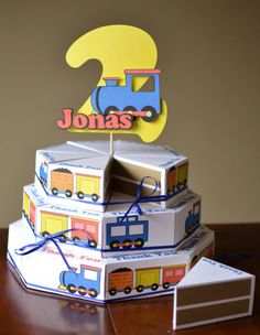 Birthday Train Party Decorations, Thomas the Train, Train Birthday Party Favor Box Cake with 3-D Cake Topper - CUSTOM Name/Age - 24 boxes via Etsy
