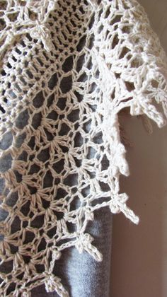 Crochet Cotton Shawl - White Ivory Summer Shawl - Wedding Bridal Wrap - Made To Order Crochet Prayer Shawls, Crochet Shawls And Wraps, Crochet Scarves, Crochet Borders, Crochet Diagram, Crochet Stitches, Hand Crochet, Crochet Lace, Stitch Patterns