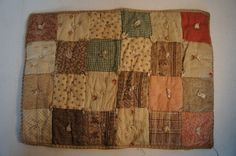 Calico patchwork doll quilt homespun back antique