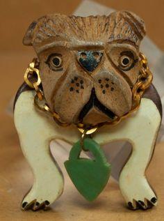 English Bulldog Lucite Brooch
