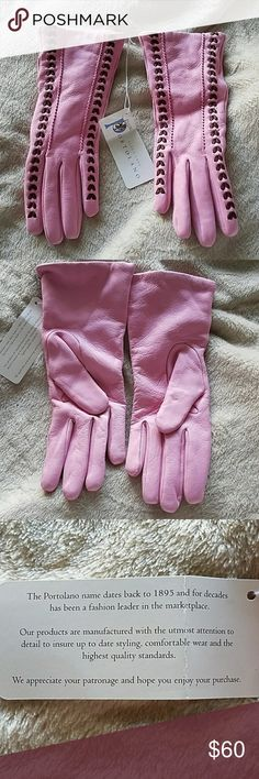 New PINK Leather Gloves Nwt, soft beautiful leather gloves. Pink with brown piping. Size 6.5. Perfect new unworn condition. The leather is gorgeous! Portolano Accessories Gloves & Mittens