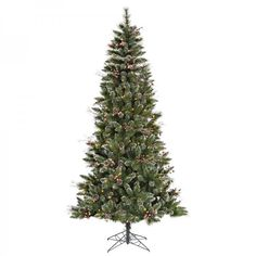 Prelit Tall Christmas Trees 7foot x 42-inch Snow Tip Berry with 350 Clear Lights #Generic
