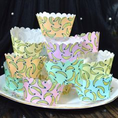 Edible Cupcake Wrappers Mix Banana Tropical Chintz by #WicksteadsEatMe 100% Edible