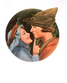 The Adventures of Robin Hood (1938)  Ad Art featuring Errol Flynn as Robin Hood (Sir Robin of Locksley) and Olivia de Havilland as Maid Marian (Lady Marian Fitzswalter).