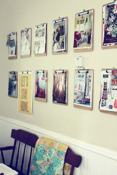 Wall clipboards for interchanging inspiration