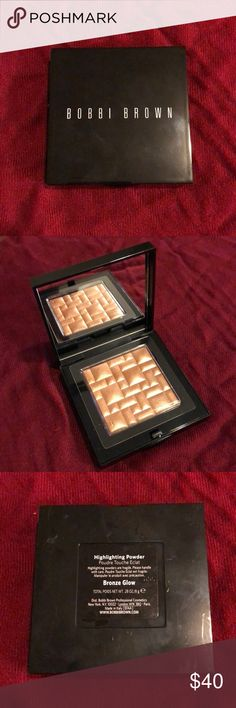 """NEW Bobbi Brown highlighter powder Bronze Authentic; Never used, never swatched, beautiful """"Illuminator"""" highlighter by Bobbi brown in the shade Bronze Glow. Still It has a very small ding on the left, bottom corner from opening and closing it (too pretty not to look at!) Still has the plastic barrier that acts as the seal. Comes as shown. Bobbi Brown Makeup Luminizer"""