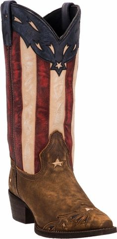 Laredo Women's Tan Keyes American Flag Cowgirl Boots in patriotic red, white, and blue.