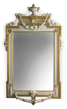 A GUSTAV III SWEDISH NEOCLASSICAL CARVED, PARCEL-GILT AND GRAY-PAINTED MIRROR IN THE MANNER OF JOHAN ÅKERBLAD CIRCA 1790