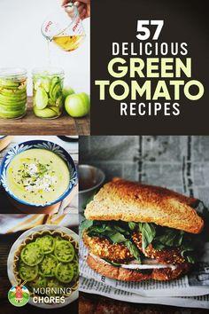 57 Fresh Easy Green Tomato Recipes Youll Want to Make Tonight via morningchores Green Tomato Recipes, Vegetable Recipes, Vegetarian Recipes, Healthy Recipes, Fun Recipes, Recipes Dinner, Green Tomatoes, Growing Tomatoes, Green Tomato Salsa