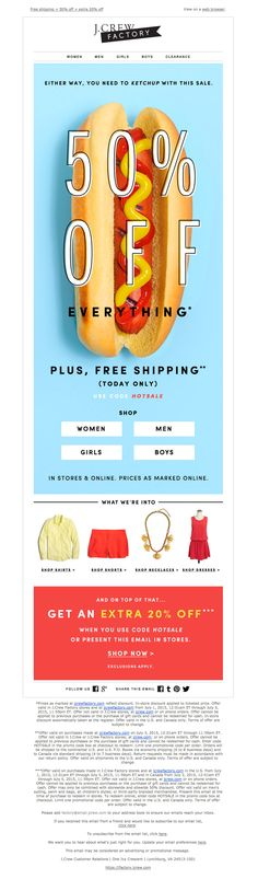 J.Crew sent this email with the subject line: Ketchup or mustard? (Plus, free shipping today only!) - This is great because of how awesome it is to see a fashion email that just has a huge hot-dog in it. Read about this email and find more promotion emails at ReallyGoodEmails.com #ecommerce #promotion