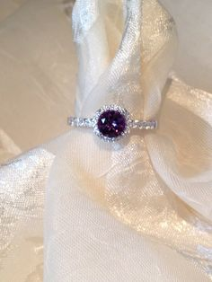 Amethyst Solitaire Ring in Halo Setting by NorthCoastCottage, $199.00