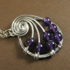 Amethyst Fibonacci Nautilus Necklace Math Jewelry by holmescraft Metal Jewelry, Beaded Jewelry, Handmade Jewelry, Wire Pendant, Pendant Jewelry, Pendant Necklace, Jewelry Crafts, Jewelry Art, Jewlery