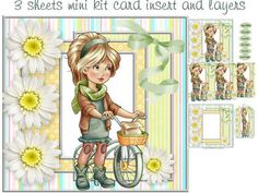 girl on her bike mini kit on Craftsuprint designed by Cynthia Berridge - girl on her bike mini kit card insert and decoupage - Now available for download!