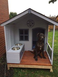 See what the fuss is about with our most popular dog kennel. An innovative structure with convenient storage cupboard space and built in stainless steel bowls! Dog House Plans, Dyi Dog House, Puppy Room, Cool Dog Houses, Dog Area, Dog Furniture, Dog Rooms, Dog Crate, Animal House