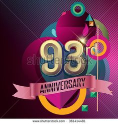 93rd Anniversary, Party poster, party invitation - background geometric glowing element. Vector Illustration - stock vector