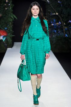Mulberry Fall 2011 Ready-to-Wear Fashion Show Green pleat cabbage dress as seen on Kate Middleton