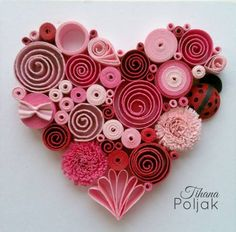 Quilled heart, quilling red rose heart, love quilling, quilled Ladybug, quilling by Tihana Poljak (Diy Paper Hearts) - - Arte Quilling, Paper Quilling Patterns, Quilled Paper Art, Quilling Paper Craft, Paper Crafting, Quilling Ideas, Quilling Images, Quilling Flowers Tutorial, Quilling Letters