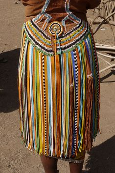 Africa |  Details from a skirt worn by a Datonga Tribe woman in Tanzania.  Photo credit Rita Willaert.