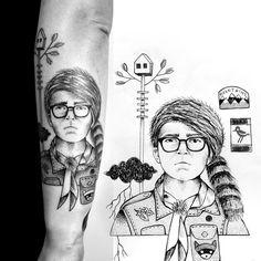 """Wes Anderson arm in proress #miriamfrank #tattoo #wesanderson #moonrisekingdom  #blackwork #blackworker"""