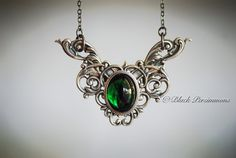 NEW - Emerald City Necklace  - Vintage VIctorian Goth Emerald Swarovski Cameo - Made In USA Stamping via Etsy