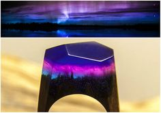 Wooden ring Northern Lights GreenWood. Wooden resin ring. Wood