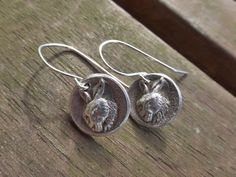 Rustic Fine Silver Hare Earrings With Sterling Silver Ear Wires £30.00